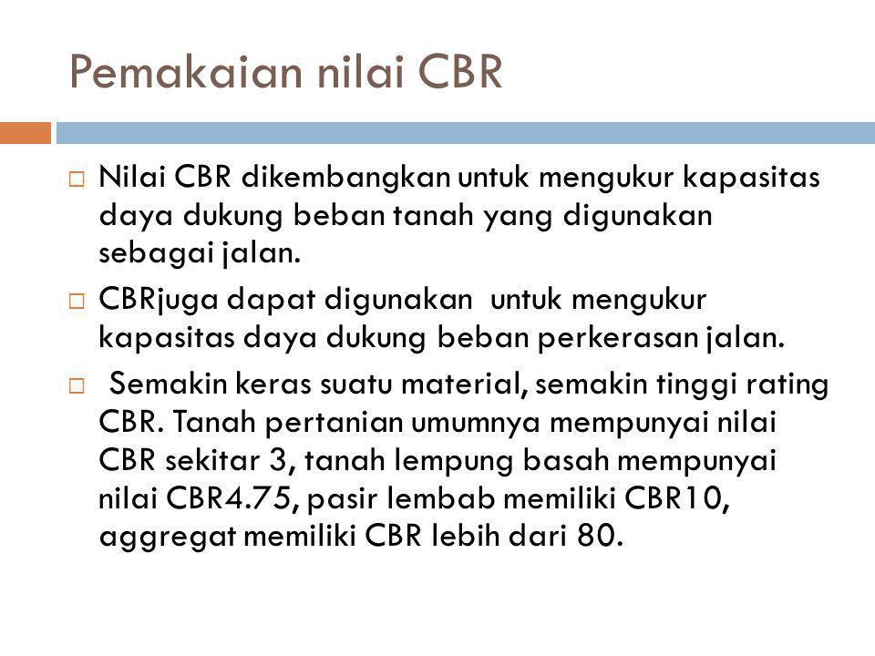 Pemakaian nilai CBR Nilai CBR dikembangkan untuk mengukur kapasitas daya dukung beban tanah yang digunakan sebagai jalan.