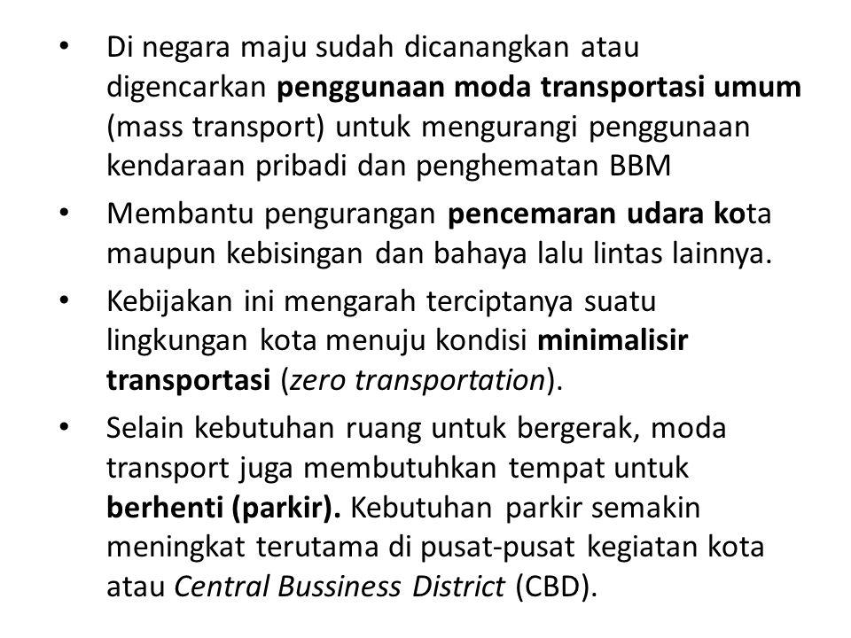 Di negara maju sudah dicanangkan atau digencarkan penggunaan moda transportasi umum (mass transport) untuk mengurangi penggunaan kendaraan pribadi dan penghematan BBM