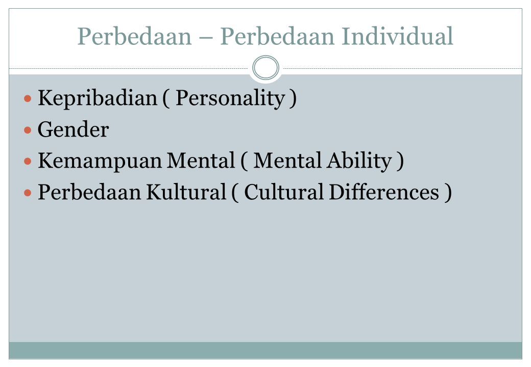 Perbedaan – Perbedaan Individual