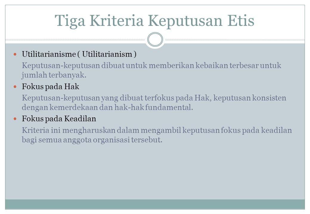 Tiga Kriteria Keputusan Etis