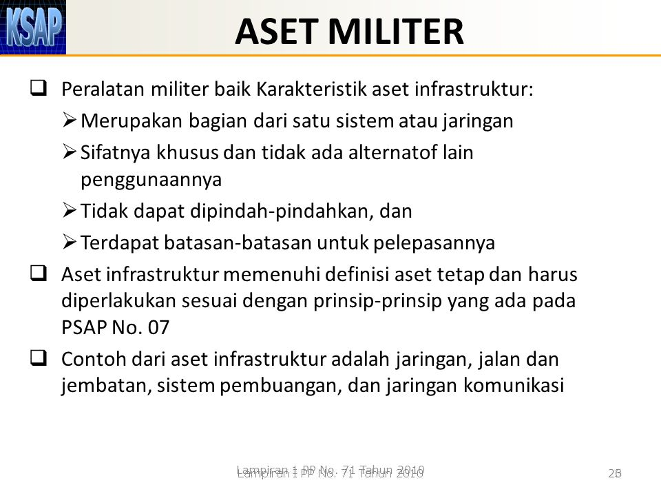 ASET MILITER Peralatan militer baik Karakteristik aset infrastruktur: