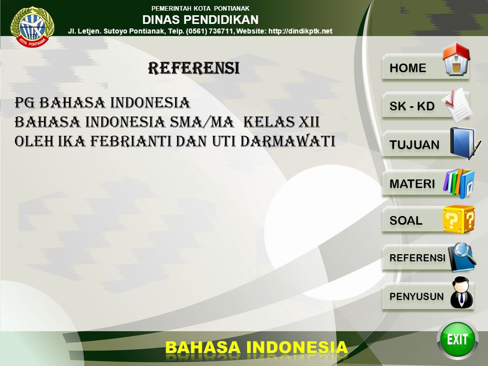 REFERENSI PG BAHASA INDONESIA BAHASA INDONESIA SMA/MA KELAS XII