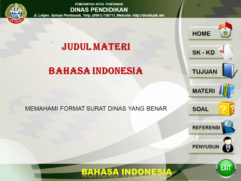 JUDUL MATERI BAHASA INDONESIA