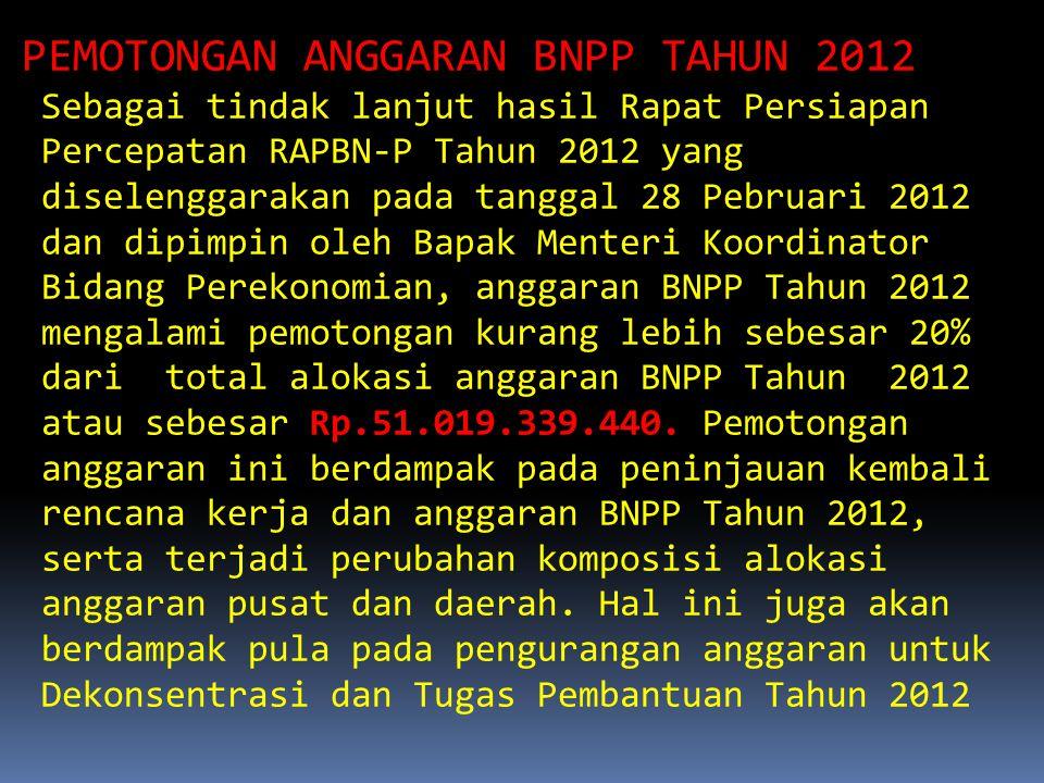 PEMOTONGAN ANGGARAN BNPP TAHUN 2012