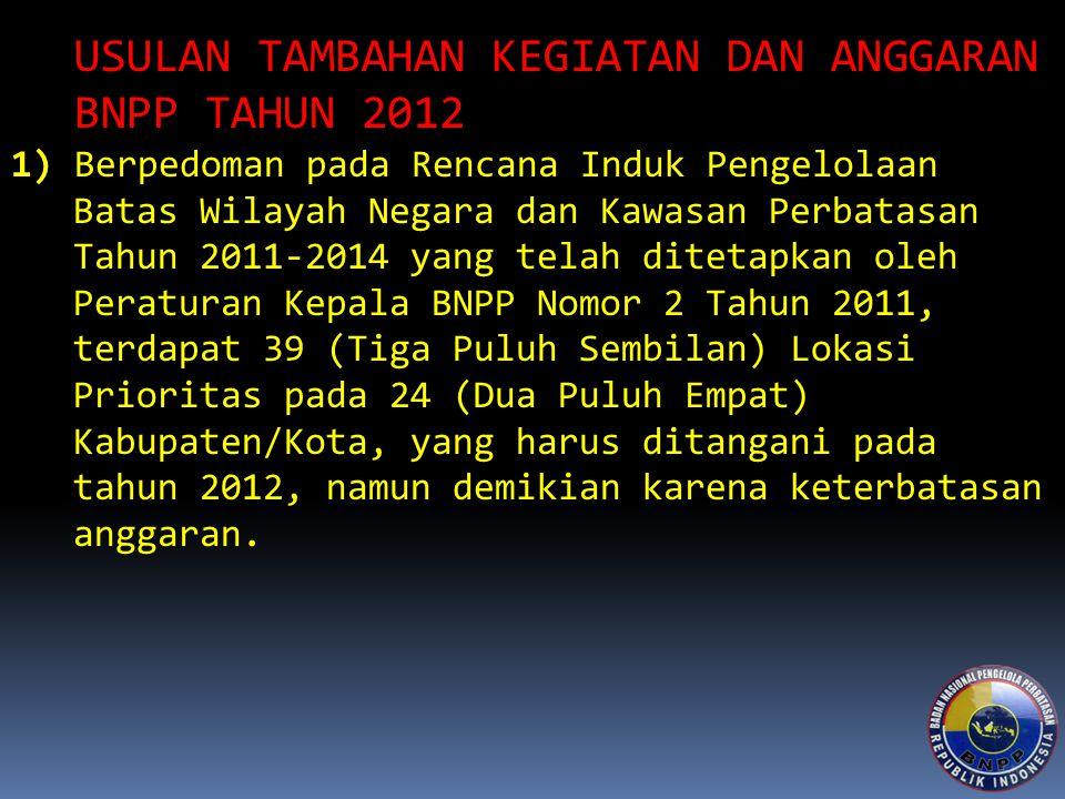 USULAN TAMBAHAN KEGIATAN DAN ANGGARAN BNPP TAHUN 2012
