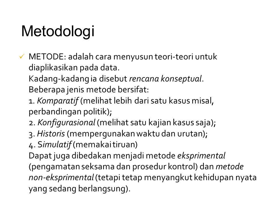 Metodologi METODE: adalah cara menyusun teori-teori untuk diaplikasikan pada data. Kadang-kadang ia disebut rencana konseptual.