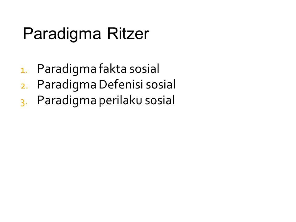 Paradigma Ritzer Paradigma fakta sosial Paradigma Defenisi sosial