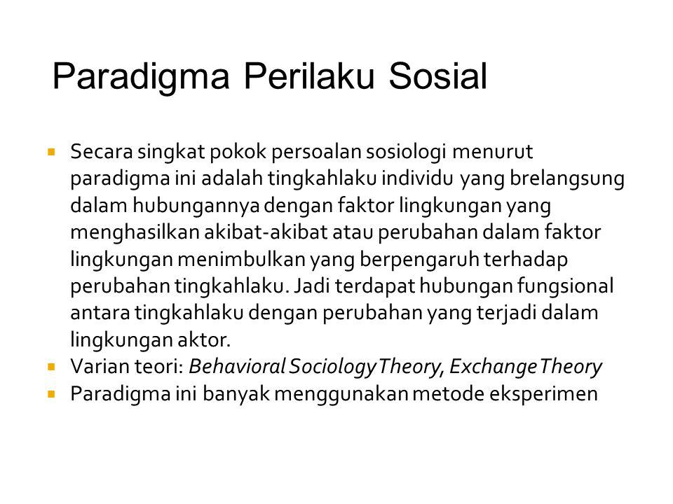 Paradigma Perilaku Sosial