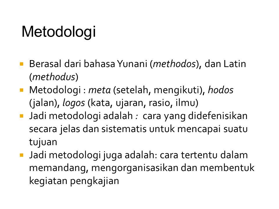 Metodologi Berasal dari bahasa Yunani (methodos), dan Latin (methodus)