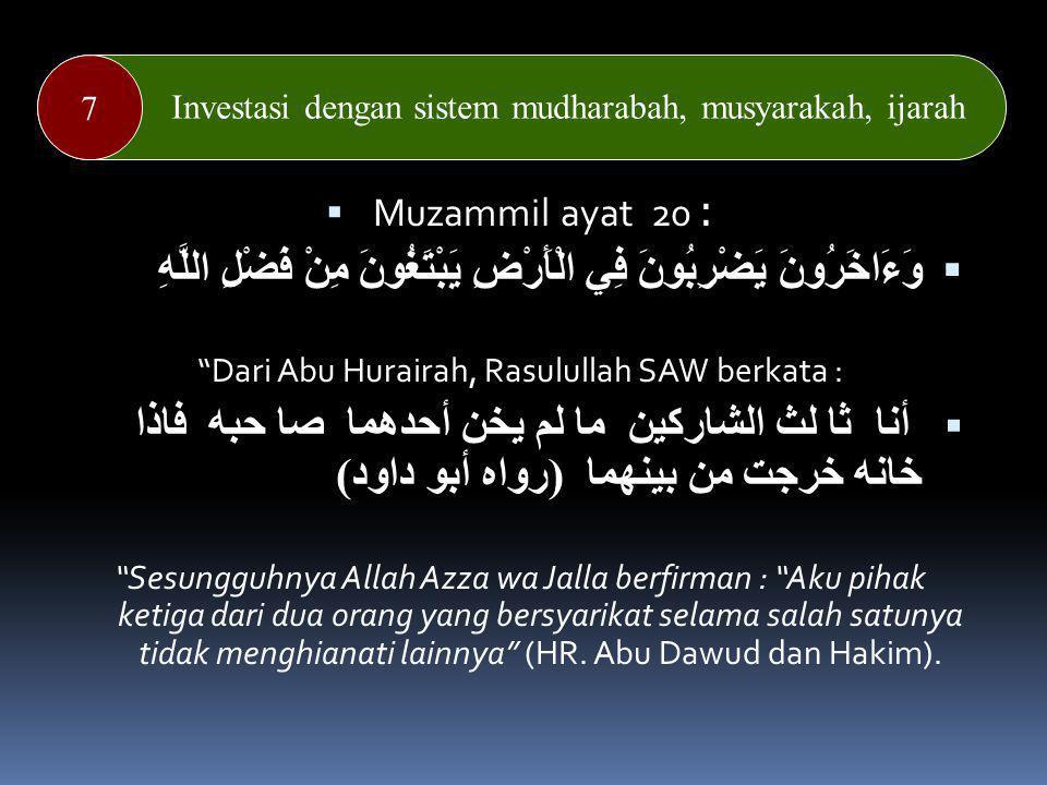Dari Abu Hurairah, Rasulullah SAW berkata :