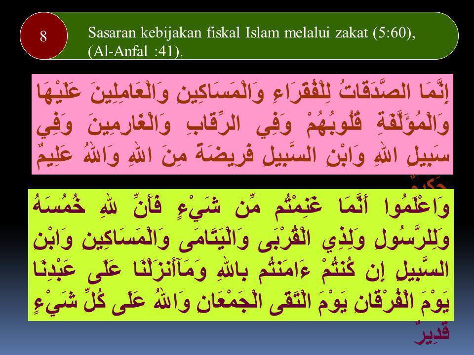 8 Sasaran kebijakan fiskal Islam melalui zakat (5:60), (Al-Anfal :41). Melaksanakan transaksi atas dasar suka rela/ridha (4:29)