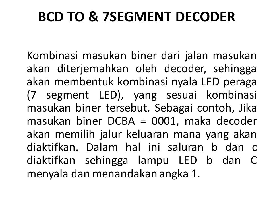 BCD TO & 7SEGMENT DECODER