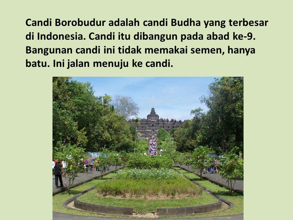 Candi Borobudur adalah candi Budha yang terbesar di Indonesia