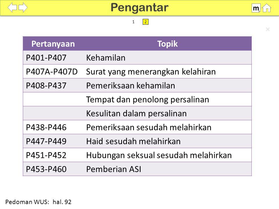Pengantar Pertanyaan Topik P401-P407 Kehamilan P407A-P407D