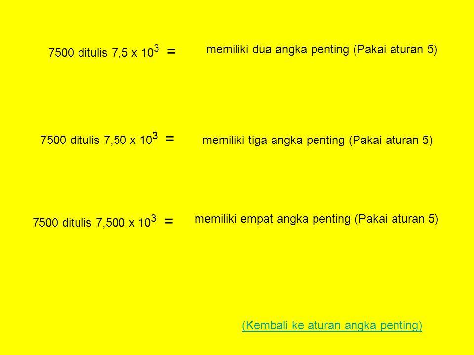 7500 ditulis 7,5 x 103 = memiliki dua angka penting (Pakai aturan 5) 7500 ditulis 7,50 x 103 = memiliki tiga angka penting (Pakai aturan 5)