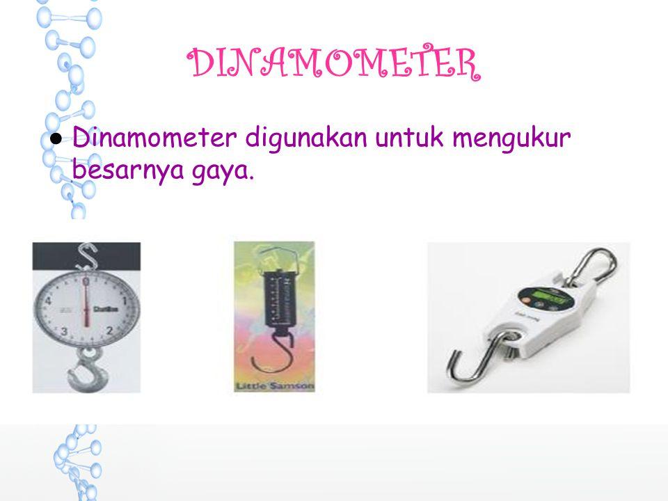 DINAMOMETER Dinamometer digunakan untuk mengukur besarnya gaya.