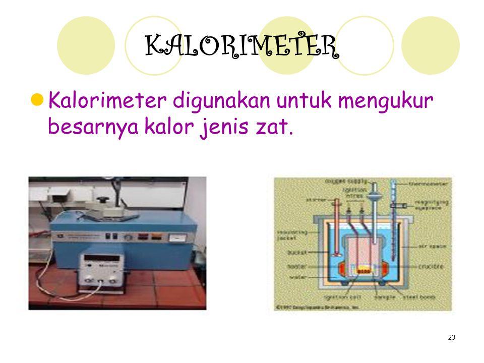 KALORIMETER Kalorimeter digunakan untuk mengukur besarnya kalor jenis zat.