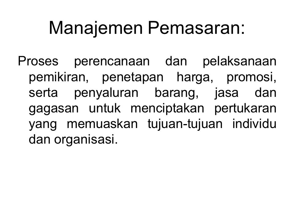 Manajemen Pemasaran: