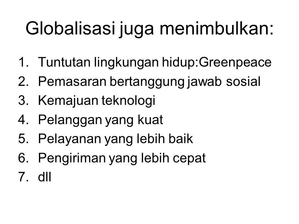 Globalisasi juga menimbulkan: