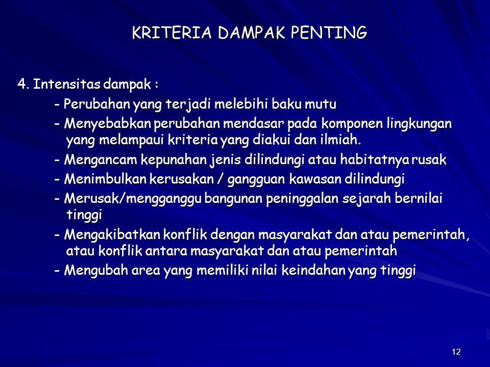 KRITERIA DAMPAK PENTING