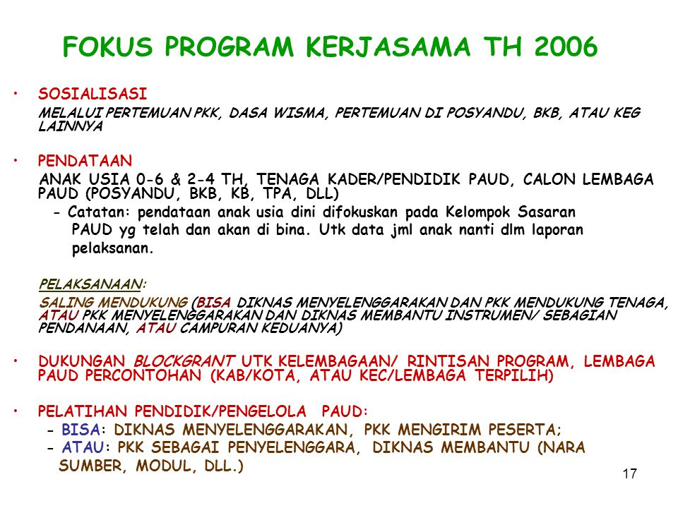 FOKUS PROGRAM KERJASAMA TH 2006
