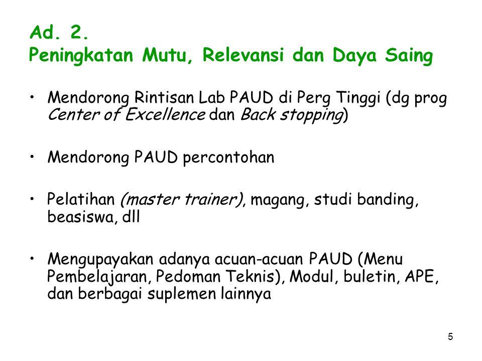Ad. 2. Peningkatan Mutu, Relevansi dan Daya Saing
