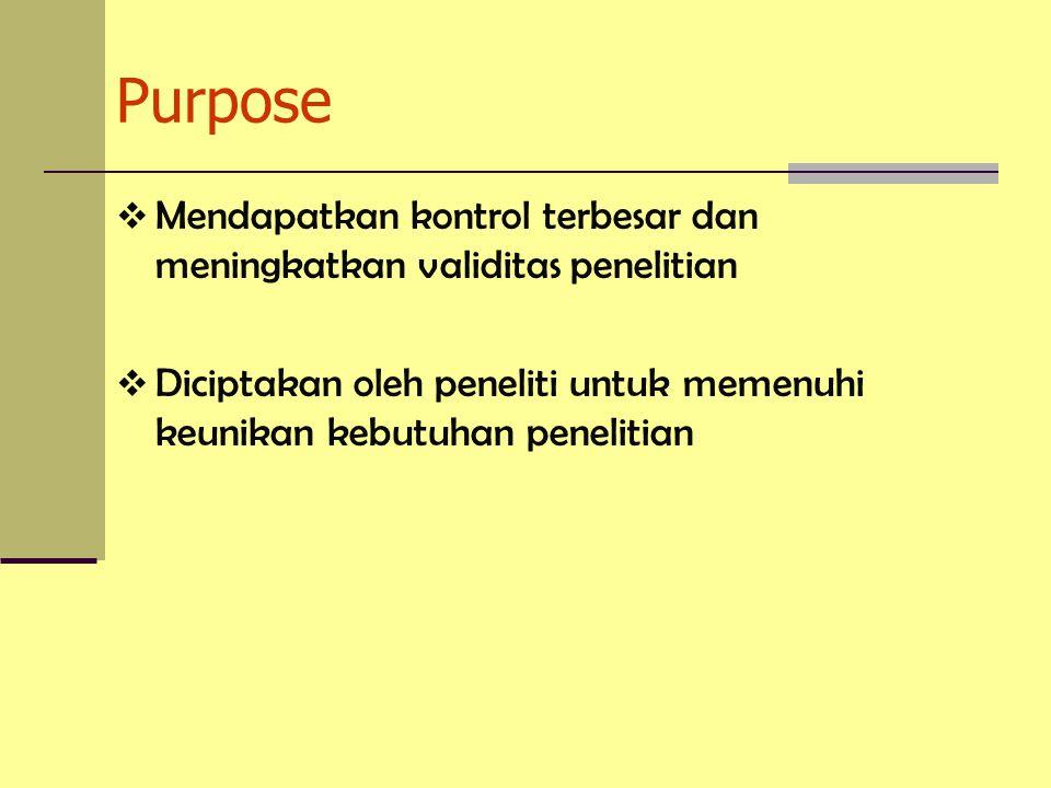 Purpose Mendapatkan kontrol terbesar dan meningkatkan validitas penelitian.