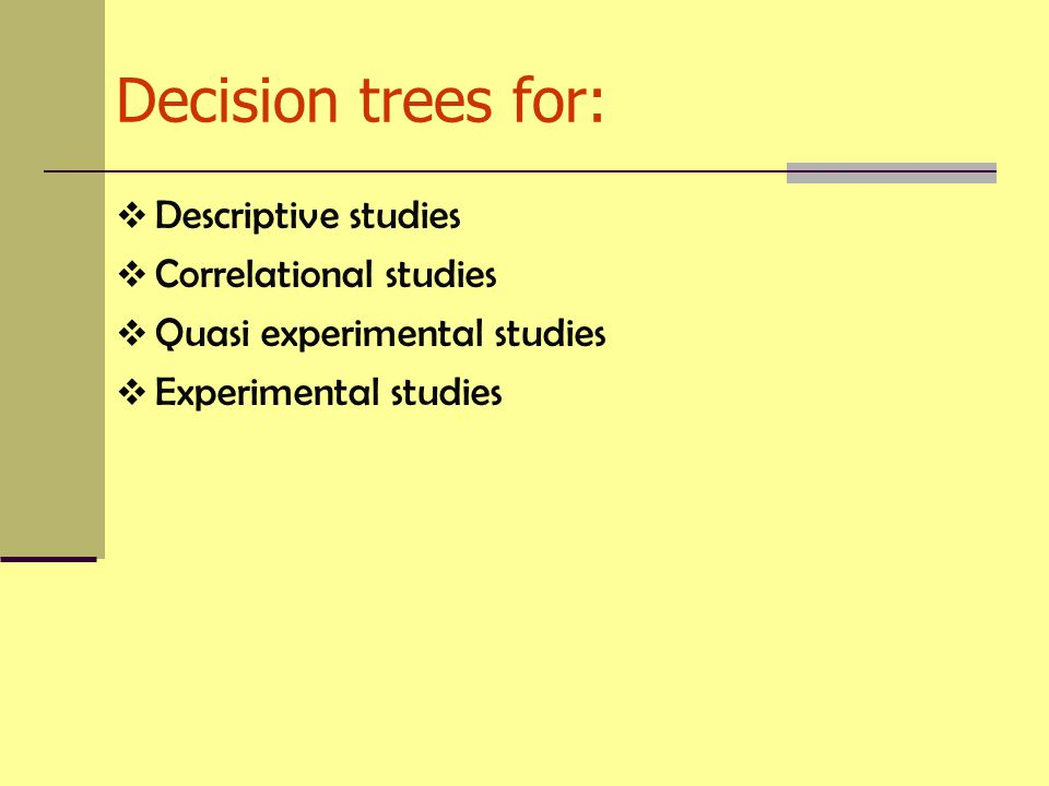 Decision trees for: Descriptive studies Correlational studies