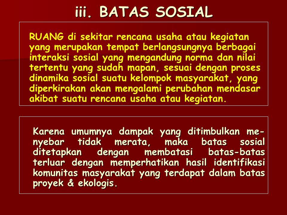 iii. BATAS SOSIAL RUANG di sekitar rencana usaha atau kegiatan
