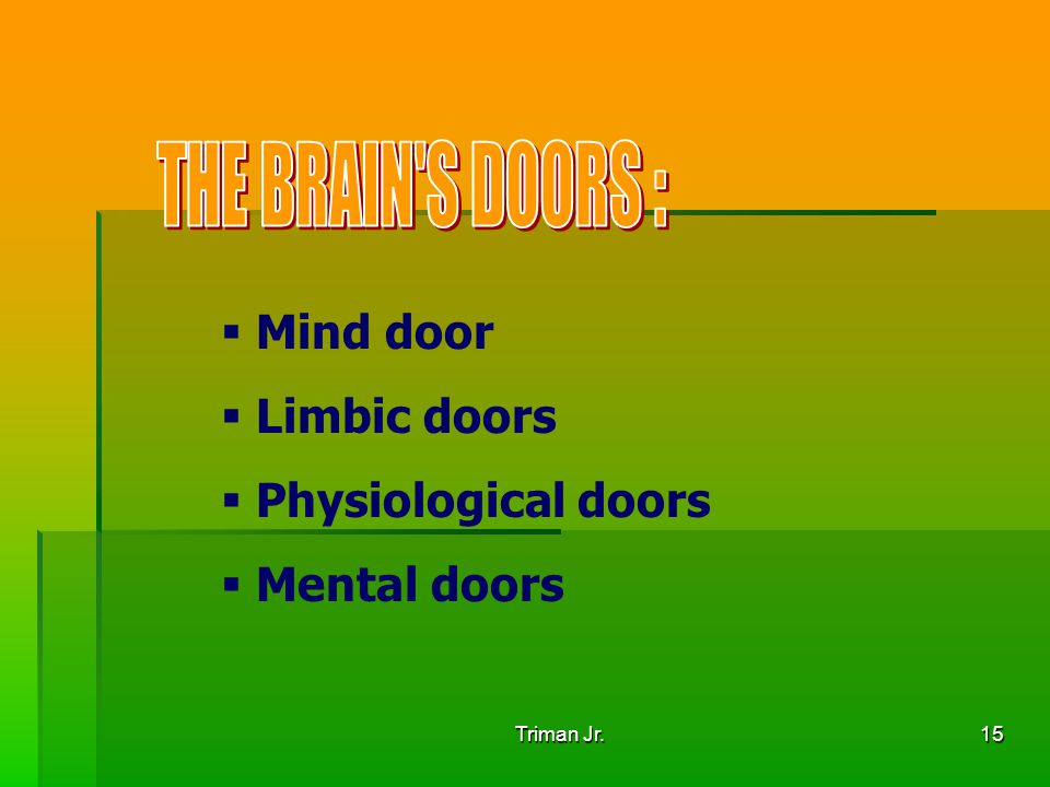 THE BRAIN S DOORS : Mind door Limbic doors Physiological doors