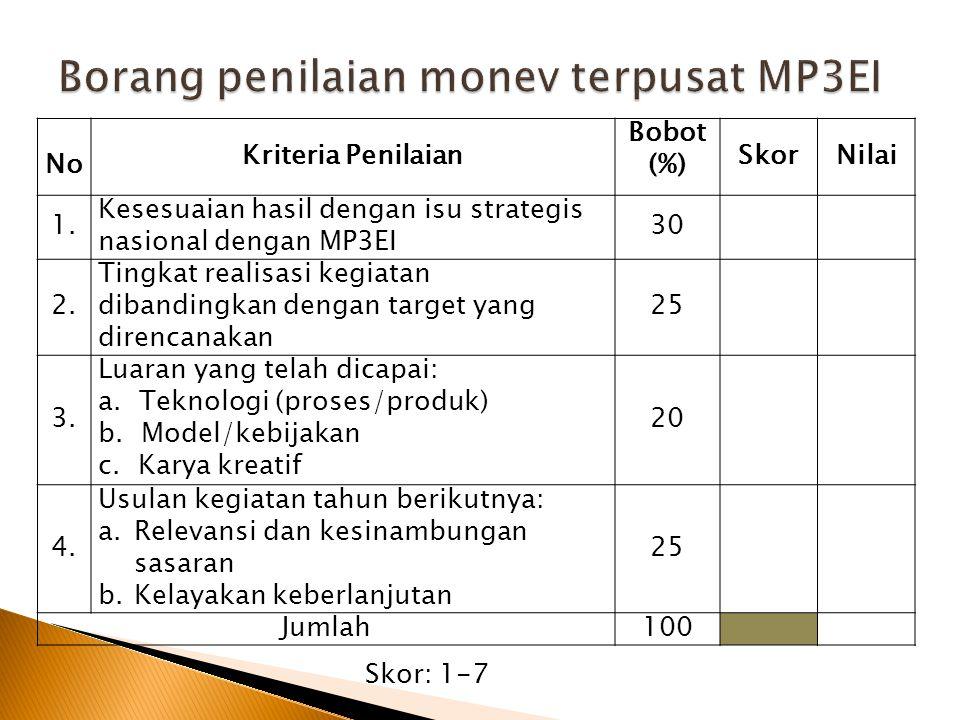 Borang penilaian monev terpusat MP3EI