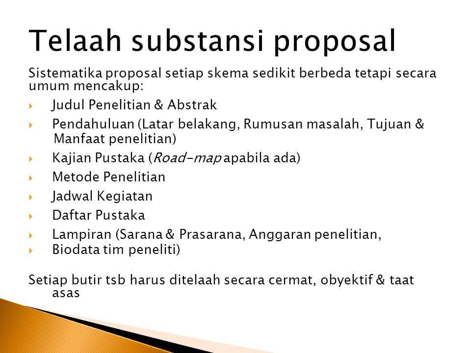 Telaah substansi proposal