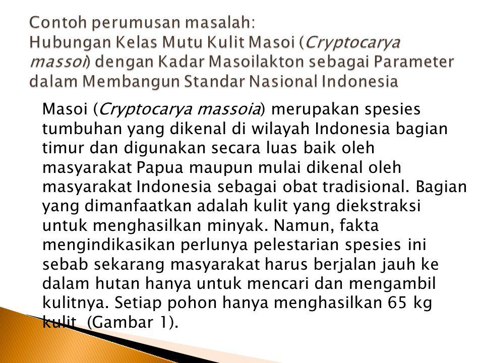 Contoh perumusan masalah: Hubungan Kelas Mutu Kulit Masoi (Cryptocarya massoi) dengan Kadar Masoilakton sebagai Parameter dalam Membangun Standar Nasional Indonesia