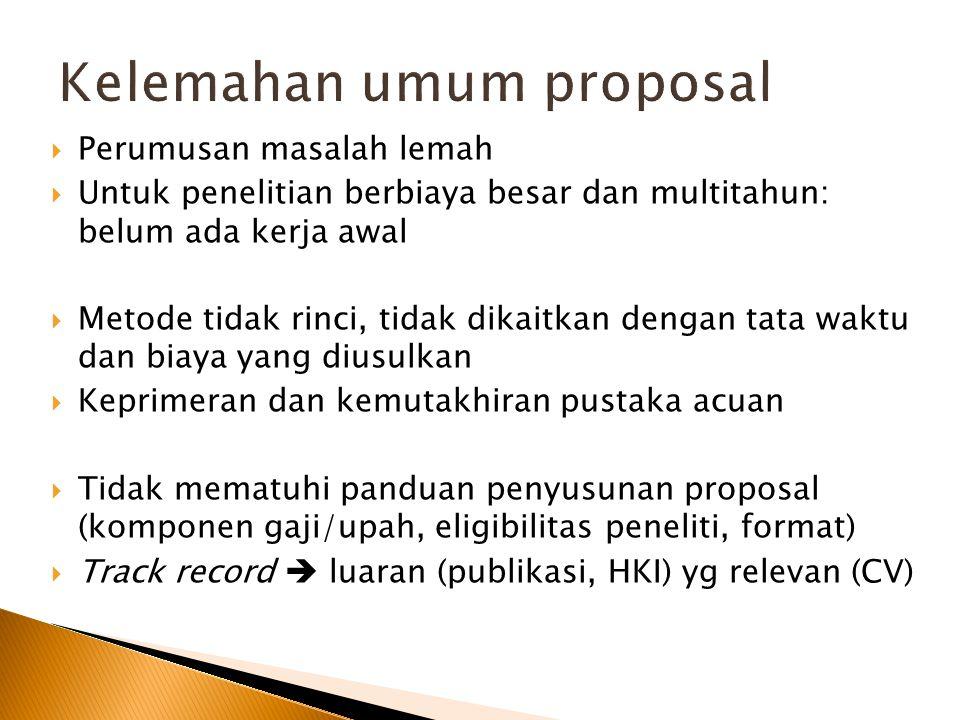 Kelemahan umum proposal