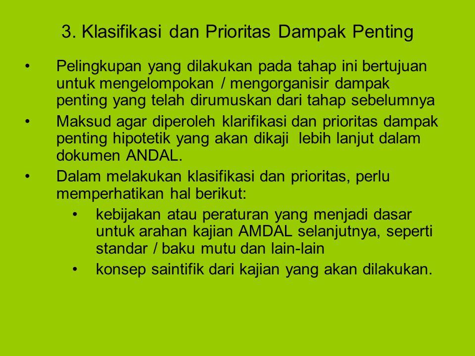 3. Klasifikasi dan Prioritas Dampak Penting