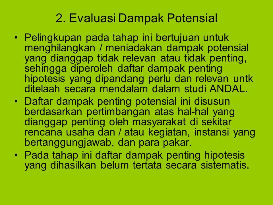 2. Evaluasi Dampak Potensial