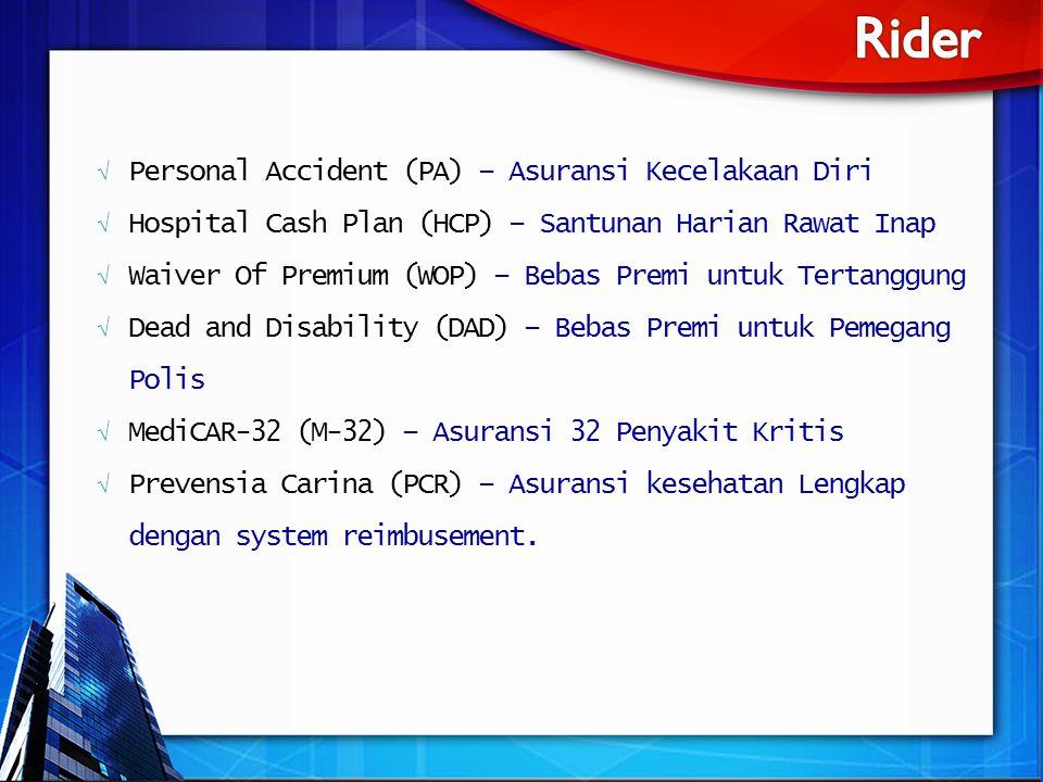 Rider Personal Accident (PA) – Asuransi Kecelakaan Diri