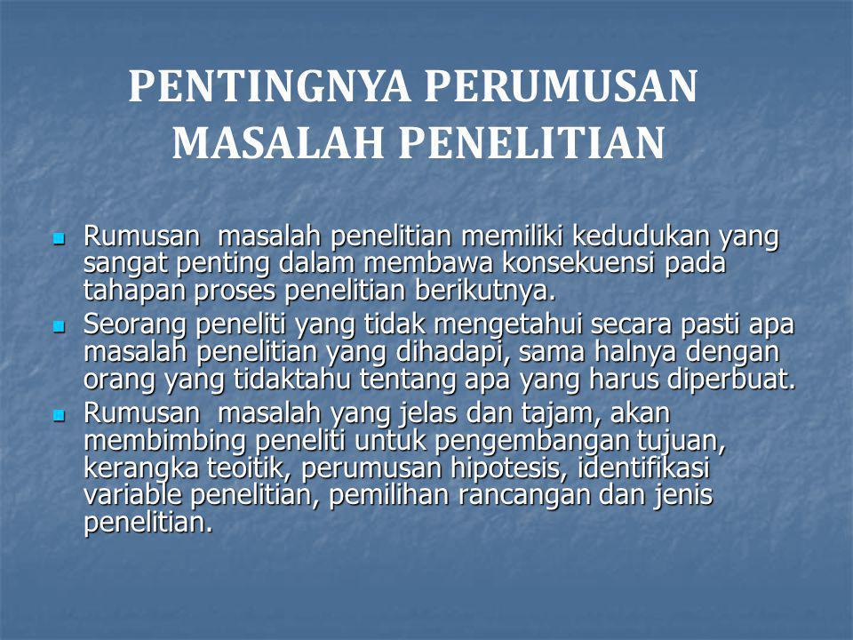 PENTINGNYA PERUMUSAN MASALAH PENELITIAN