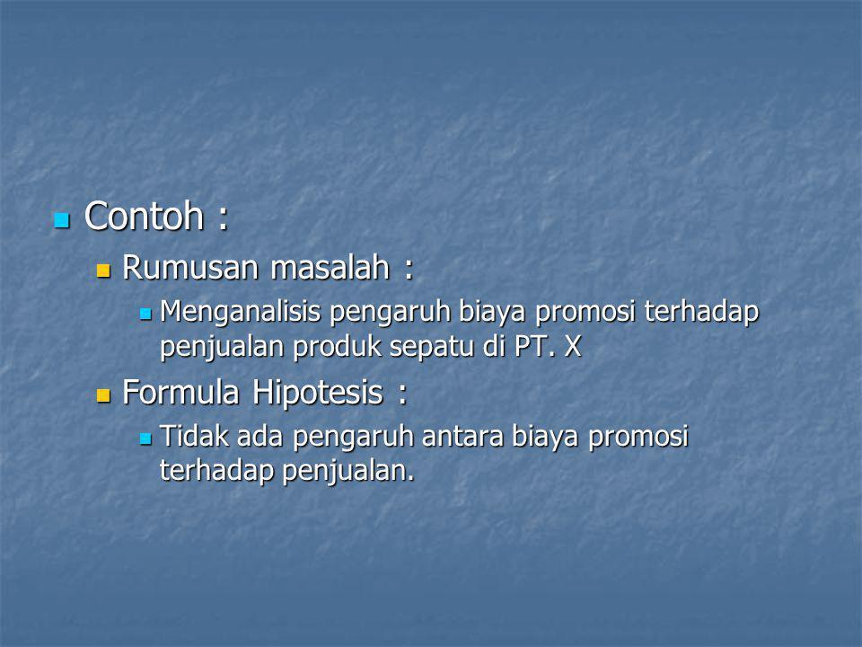 Contoh : Rumusan masalah : Formula Hipotesis :
