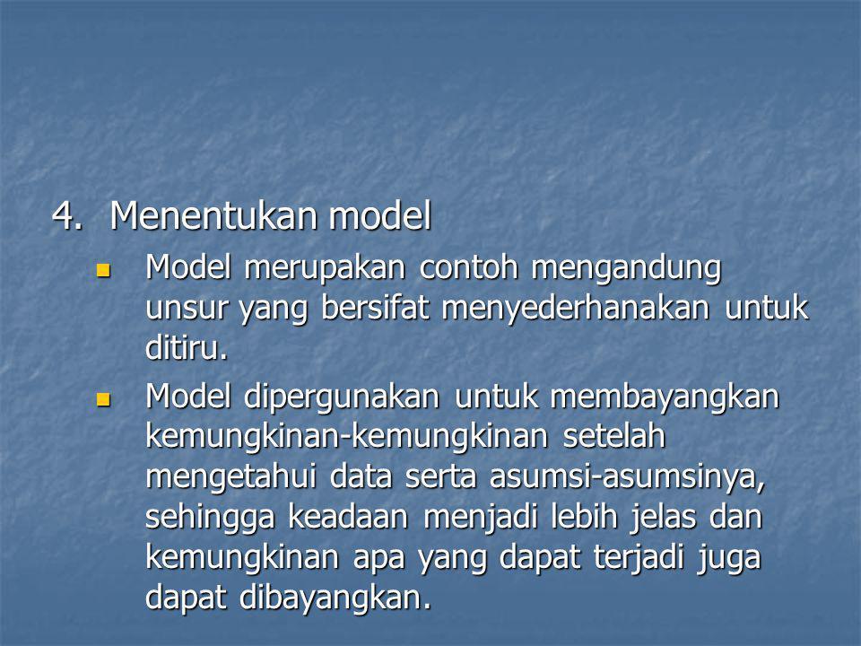 4. Menentukan model Model merupakan contoh mengandung unsur yang bersifat menyederhanakan untuk ditiru.