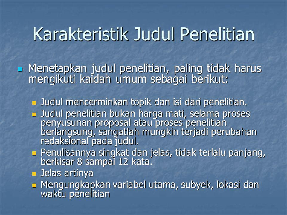 Karakteristik Judul Penelitian