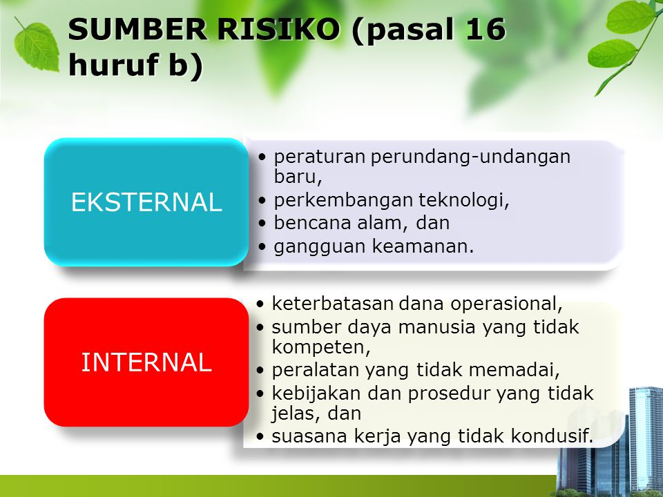 SUMBER RISIKO (pasal 16 huruf b)