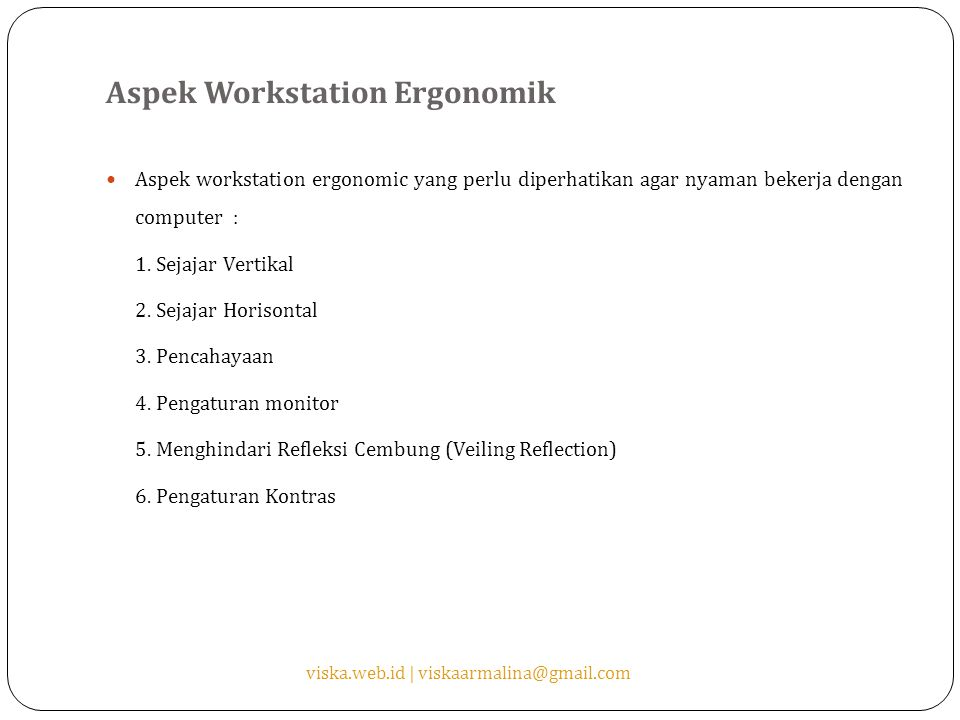Aspek Workstation Ergonomik