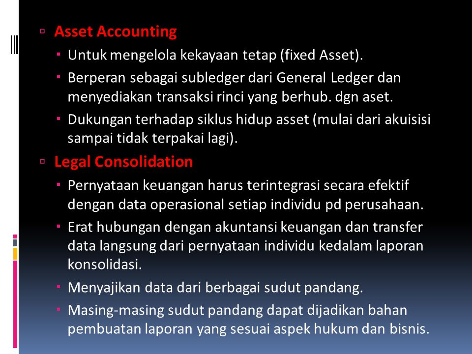 Asset Accounting Legal Consolidation