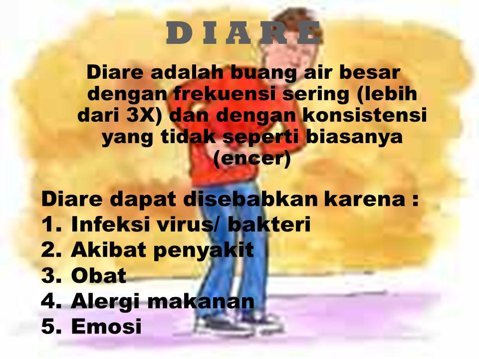 D I A R E Diare dapat disebabkan karena : Infeksi virus/ bakteri