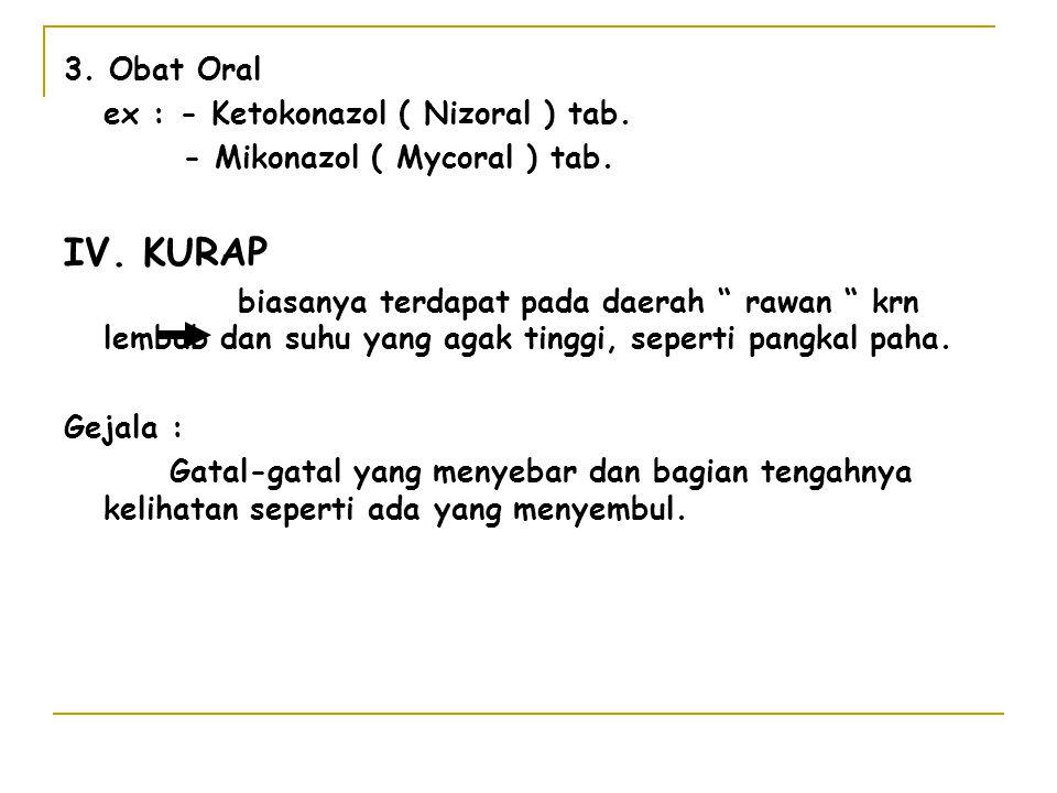 IV. KURAP 3. Obat Oral ex : - Ketokonazol ( Nizoral ) tab.