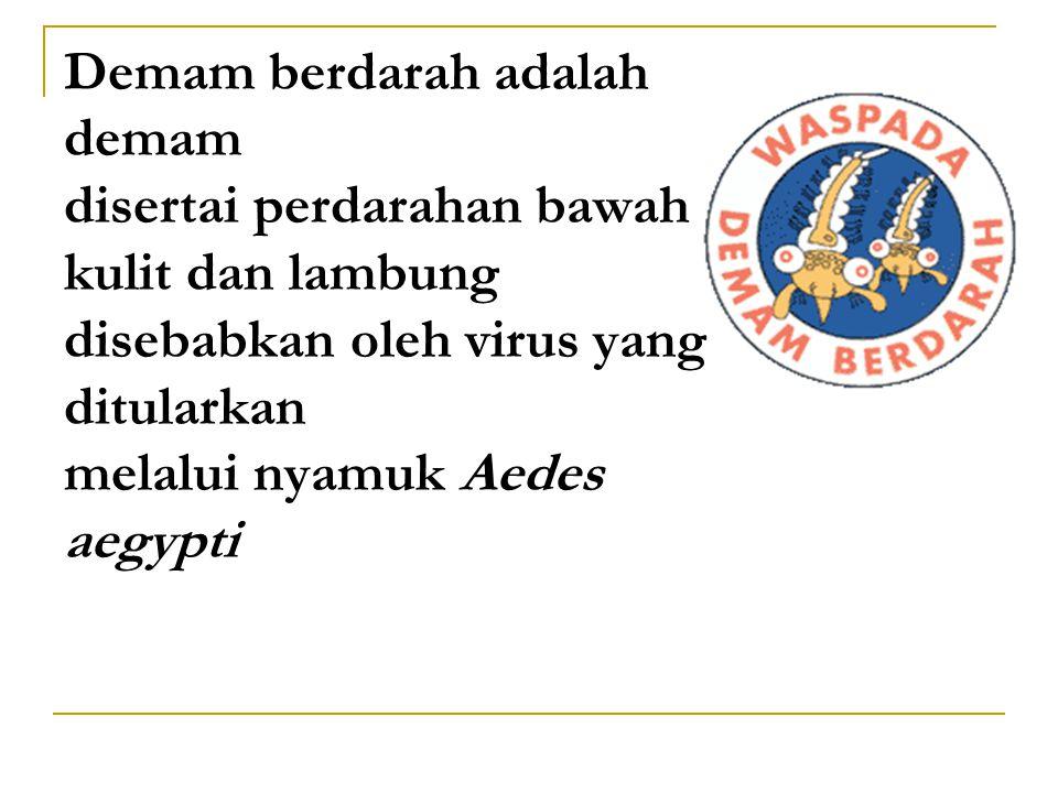 Demam berdarah adalah demam disertai perdarahan bawah kulit dan lambung disebabkan oleh virus yang ditularkan melalui nyamuk Aedes aegypti