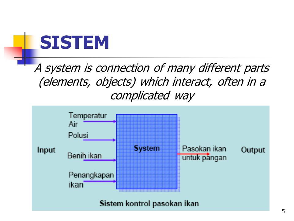 SISTEM A system is connection of many different parts (elements, objects) which interact, often in a complicated way.