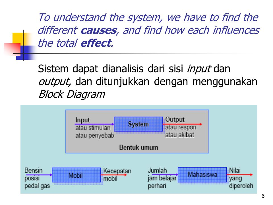To understand the system, we have to find the different causes, and find how each influences the total effect.