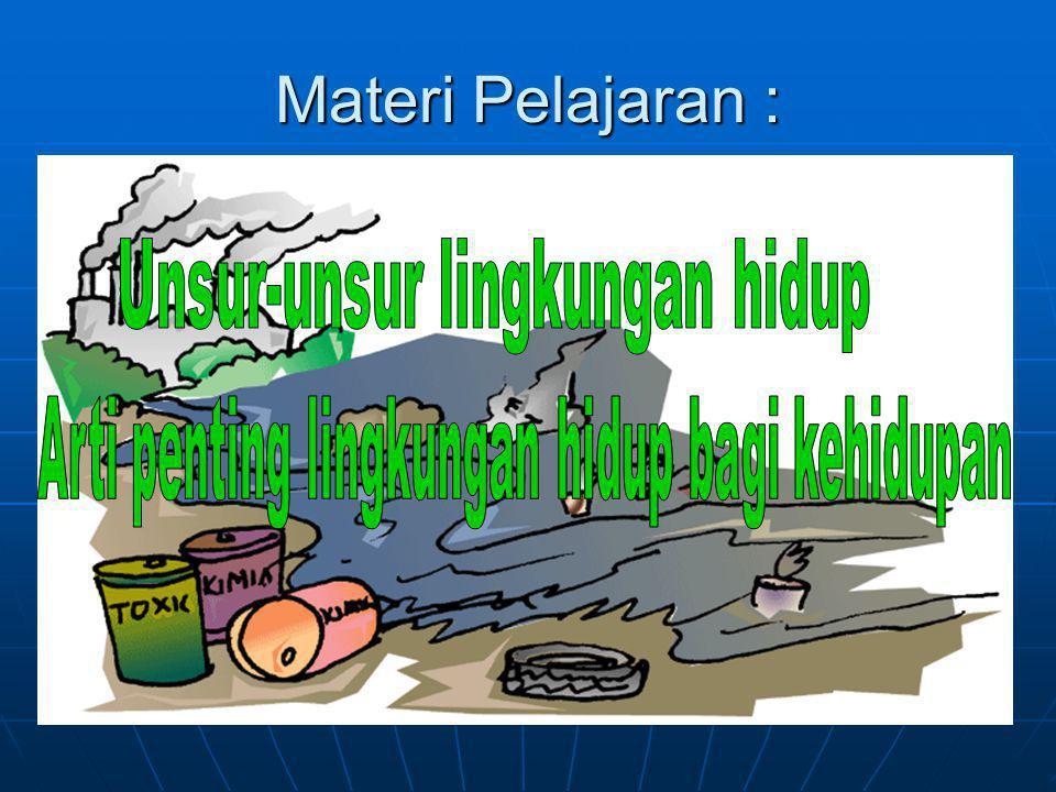 Materi Pelajaran : Unsur-unsur lingkungan hidup